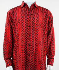 Bassiri Red Tribal Design Long Sleeve Camp Shirt