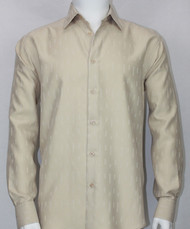 Bassiri Champagne Solid Weave Long Sleeve Camp Shirt