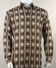 Bassiri Tan Line Graph Print Long Sleeve Camp Shirt
