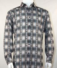 Bassiri Grey Line Graph Print Long Sleeve Camp Shirt