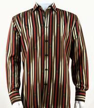 Bassiri Tan & Orange Vertical Stripe Long Sleeve Camp Shirt