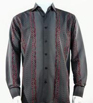 Bassiri Black & Red Honeycomb Print Long Sleeve Camp Shirt