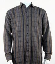 Bassiri Charcoal Grid Print Long Sleeve Camp Shirt