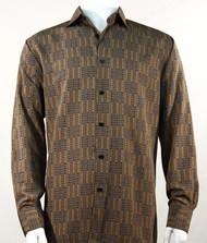 Bassiri Bronze Grid Print Long Sleeve Camp Shirt