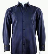 St. Cado Black & Navy Contrasting Cuff Fashion Shirt - Button Cuff