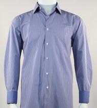 St. Cado Mini Blue Check Fashion Sport Shirt - Button Cuff