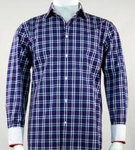 St. Cado Navy Windowpane Contrasting Cuff  Sport Shirt - Button Cuff