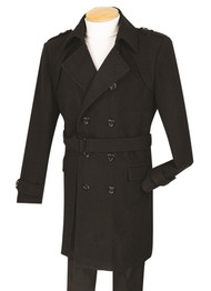 Fortini Slim Fit Double Breasted Wool Top Coat with Belt - Black