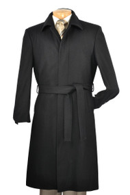 Fortini Long Wool Belted Overcoat -  Black