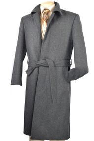 Fortini Long Wool Belted Overcoat -  Charcoal