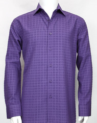 Bassiri Purple Windowpane Design Long Sleeve Camp Shirt