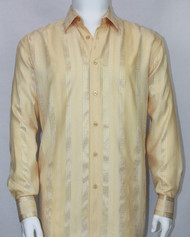 Bassiri Gold Ribbon Weave Long Sleeve Camp Shirt