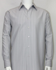 Bassiri Grey Stripe Long Sleeve Camp Shirt
