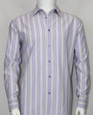 Bassiri Grey & Purple Multi Vertical Stripe Long Sleeve Camp Shirt