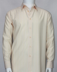 Bassiri Pale Peach Vertical Mini Stripe Long Sleeve Camp Shirt