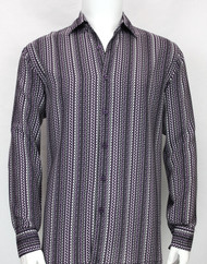 Bassiri Purple Squiggle Line Pattern Long Sleeve Camp Shirt
