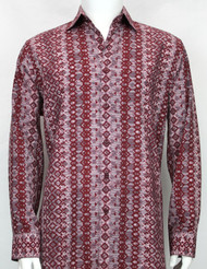 Bassiri Red Abstract Arrow Design Long Sleeve Camp Shirt