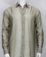 Bassiri Tan Stripe Waffle Design Long Sleeve Camp Shirt