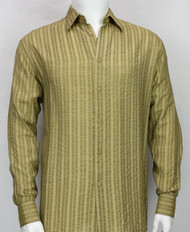 Bassiri Gold Tone Seer-Sucker Long Sleeve Camp Shirt