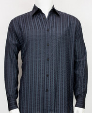 Bassiri Blue Tone Seer-Sucker Long Sleeve Camp Shirt