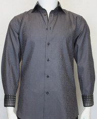 St. Cado Charcoal Contrasting Cuff Fashion Sport Shirt - Button Cuff