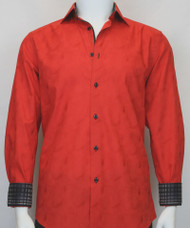 St. Cado Red & Black Contrasting Cuff Fashion Sport Shirt - Button Cuff