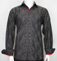 St. Cado Charcoal & Red Contrasting Cuff Fashion Sport Shirt - Button Cuff