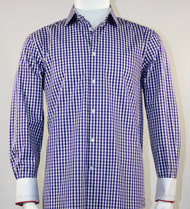 St. Cado Purple and Navy Fashion Sport Shirt - Button Cuff