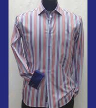 Antonio Martini Blues & Red Contrasting Cuff Shirt - French Cuff