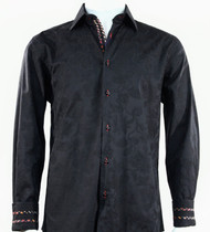 St. Cado Black Contrasting Cuff Fashion Sport Shirt - Button Cuff
