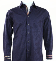 St. Cado Dark Blue Contrasting Cuff Fashion Sport Shirt - Button Cuff