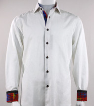 St. Cado White & Red Contrasting Cuff Fashion Sport Shirt - Button Cuff