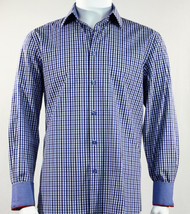 St. Cado Navy & Blue Contrasting Cuff Fashion Sport Shirt - Button Cuff
