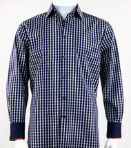 St. Cado Navy & White Contrasting Cuff Fashion Sport Shirt - Button Cuff
