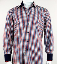 St. Cado Red, White & Blue Contrasting Cuff Fashion Sport Shirt - Button Cuff