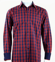 St. Cado Red & Blue Contrasting Cuff Fashion Sport Shirt - Button Cuff