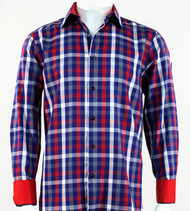 St. Cado Red, Blue & White Check Contrasting Cuff Fashion Sport Shirt - Button Cuff