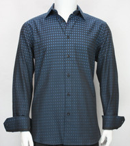 St. Cado Blue Tones Contrasting Cuff Fashion Sport Shirt - Button Cuff