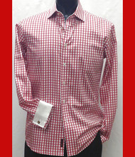 Antonio Martini Contrasting French Cuff 100% Cotton Shirt - Red Check