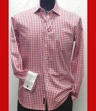 Antonio Martini Contrasting French Cuff 100% Cotton Shirt - Red Check