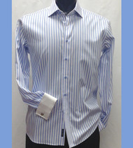 Antonio Martini Contrasting French Cuff 100% Cotton Shirt - Blue Stripe