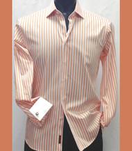 Antonio Martini Contrasting French Cuff 100% Cotton Shirt - Orange Stripe
