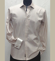 Antonio Martini Contrasting French Cuff 100% Cotton Shirt - Tan Check