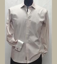 Antonio Martini Contrasting French Cuff 100% Cotton Shirt - Tan Check