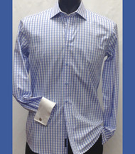 Antonio Martini Contrasting French Cuff 100% Cotton Shirt - Blue Check