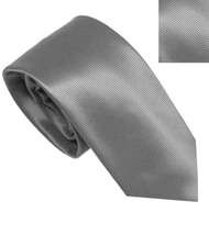 Antonia 100% Silk Narrow Tie w/Matching Pocket Square - Battleship Grey