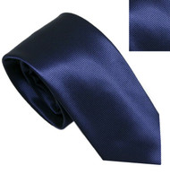 Antonia 100% Silk Narrow Tie w/Matching Pocket Square - Navy