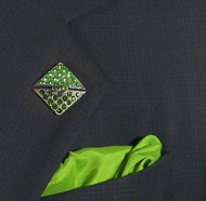Antonio Ricci Fashion Lapel Pin/Button & Matching 100% Silk Pocket Square - Green Square Crystal