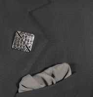 Antonio Ricci Fashion Lapel Pin/Button & Matching 100% Silk Pocket Square - Grey Square Crystal