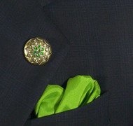 Antonio Ricci Green Fashion Lapel Pin/Button & Matching 100% Silk Pocket Square